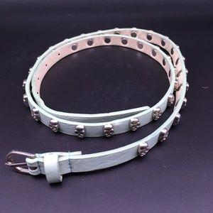 Accessories - Seafoam Green Skull Skinny Belt 38